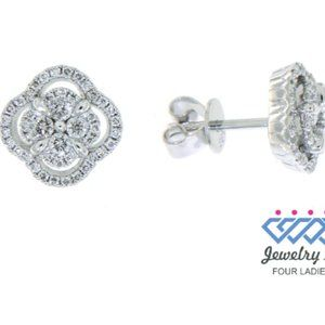 Solid Diamond Floral Stud Earrings 14K White Gold